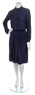 A Chanel Navy Silk Blouse and Skirt Set, Size 12.