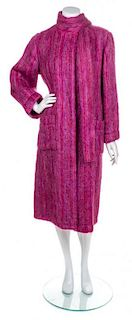 A Chanel Fuschia Mohair Coat, Size 12.