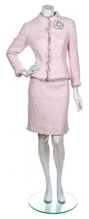 A Chanel Pink Boucle Ice Cream Cone Skirt Suit, Both size 46.