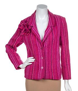 A Chanel Fuschia Striped Jacket, Size 44.