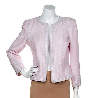 A Chanel Pink Boucle Jacket, Size 38.
