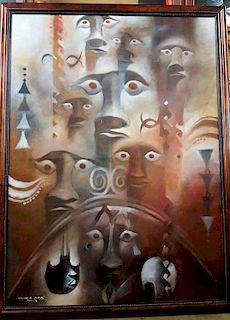 Cristián Arévalo Pakarati Easter Island Mythological Painting HUGE