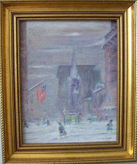 Johann Berthelsen  (1883-1972) Painting New York snow