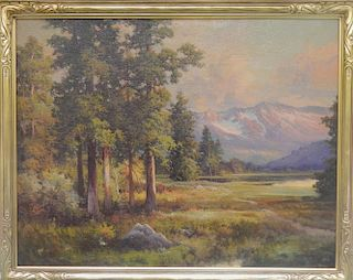 Robert Wood  (1889 - 1979) Painting Sierra Mountain Landscape