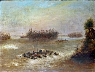 American 19th century Hudson River School style painting