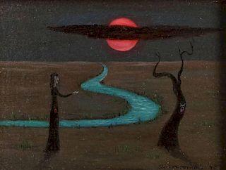 GERTRUDE ABERCROMBIE (AMERICAN 1909-1977) OIL ON BOARD