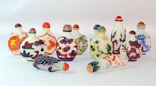Twelve Peking Glass Snuff Bottles