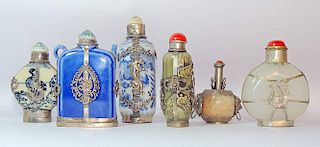Grouping of Six Snuff Bottles Mounted in Metal