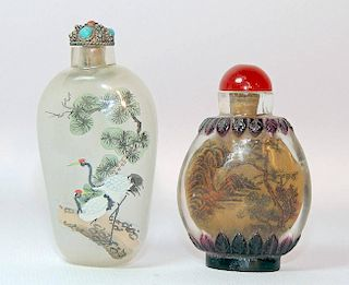 Two Interior-Painted Glass Snuff Bottles