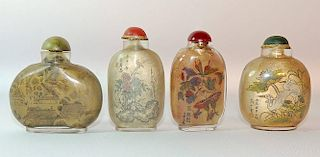 Four Interior-Painted Glass Snuff Bottles