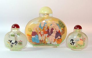 Three Interior-Painted Glass Snuff Bottles
