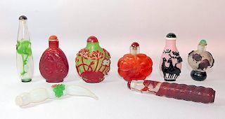 Eight Peking Glass Snuff Bottles