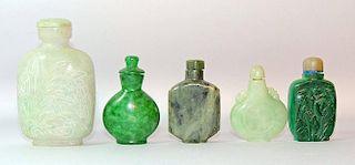 Five Hardstone Snuff Bottles