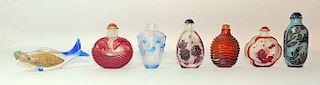 Seven Peking Glass Snuff Bottles