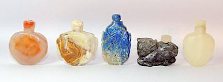 Grouping of Five Hardstone Snuff Bottles