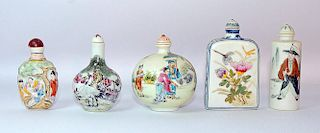 Grouping of Five Porcelain Snuff Bottles