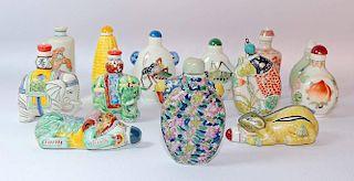 Fourteen Porcelain Snuff Bottles