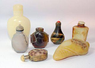 Seven Hardstone Snuff Bottles