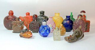 Grouping of Seventeen Snuff Bottles
