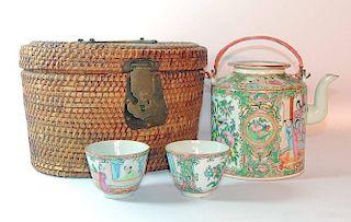 Chinese Export Rose Medallion Porcelain Tea Set