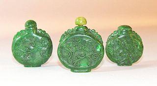 Three Carved Spinach Jade Snuff Bottles
