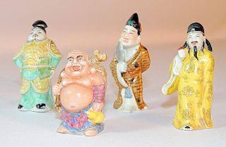 Four Porcelain Figural Snuff Bottles