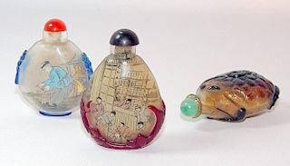 Three Inside-Painted Glass Snuff Bottles