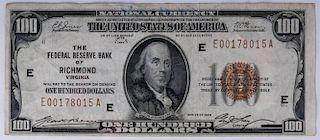 Series 1929, U.S. $100 National Currency