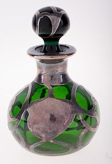 Green Glass Perfume Bottle With Silver Overlay