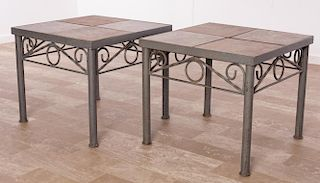Tile Top Outdoor Tables Pair