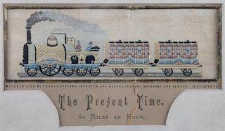 "Stevengraph ""The Present Time"" Railroad Silk"