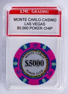 Monte Carlo Casino $5,000 Poker Chip (Graded)