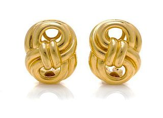 "A Pair of 18 Karat Yellow Gold ""Figure Eight"" Earclips, Verdura, 12.60 dwts."