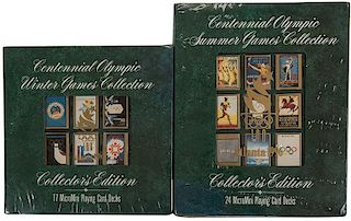 Two United States Playing Card Co. Collector's Edition Winter & Summer Olympics Playing Cards.
