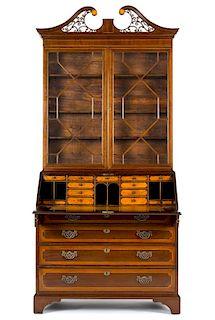 George III mahogany secretary desk, ca. 1770, with allover line inlay and satinwood interior drawe