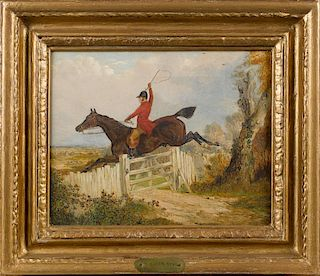 Attributed to Henry Alken Sr. (British 1785-1851), oil on canvas of a man on horseback, 10'' x 12''.