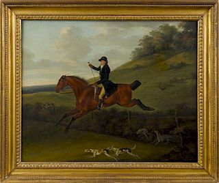John Nost Sartorius (British 1759-1828), oil on canvas depicting a horse and rider with hounds, si