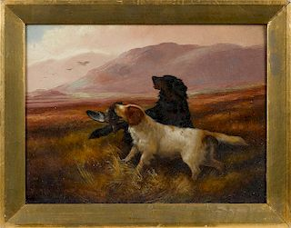 Robert Cleminson (British 1844-1903), pair of oil on canvas landscapes with hunting dogs, signed l