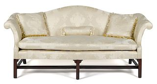 George III mahogany camelback sofa, ca. 1770, with molded square front legs, 37'' h., 80'' w.