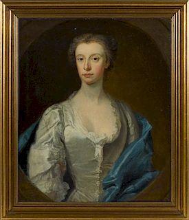 Bartholomew Dandridge (British 1691-1755), oil on canvas portrait of a woman, signed lower left, 3