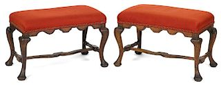 Pair of Continental Queen Anne beech and pine stools, ca. 1740. Provenance: Rentschler collection.