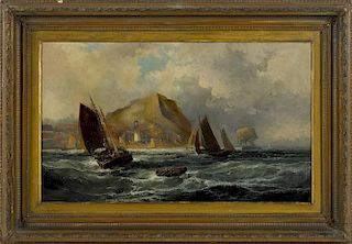 Robert Ernest Roe (British 1852-1920), oil on canvas seascape, signed lower left and dated '84,