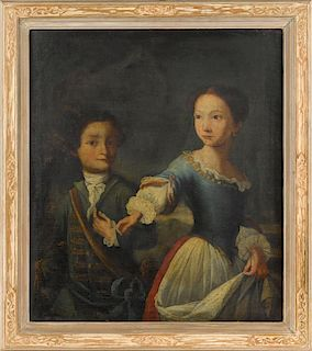 English oil on canvas portrait of two children, late 18th c., 30'' x 26 1/4''.