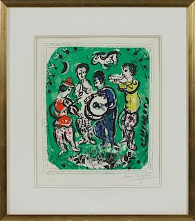 Marc Chagall (French/Russian 1887-1985), color lithograph titled Musicians, on a green backgroun