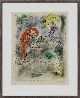 Marc Chagall (French/Russian 1887-1985), color lithograph titled Le Toits, pencil signed lower r