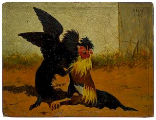 William Baird (French/American 1847-1917), four oil on board cock fighting scenes, two signed uppe