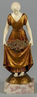 Joe Descomps (French 1869-1950), gilt bronze and ivory figure of a woman, 9'' h.