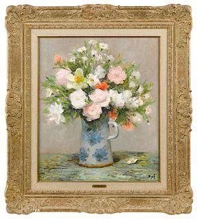 Marcel Dyf (French 1899-1985), oil on canvas floral still life, titled Bouquet au pot de gres ble
