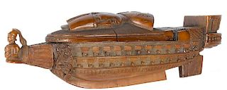Carved coquilla nut Napoleonic prisoner of war snuff box, 19th c., with a finely detailed ship wit