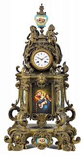 French bronze mantel clock, late 19th c., with painted porcelain mounts, 28'' h.